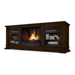"Real Flame - Hudson Ventless Gel Fireplace in Espresso - Fits up to a 50"" (diagonal) TV, 100 lb. weight limit. Shelf dimensions: 18.75"" x 16.75"". Uses clean burning Real Flame gel fuel emitting up to 9,000 BTUs of heat per hour lasting up to 3 hours.. Solid wood and veneered MDF construction.. Fireplace includes wooden mantel, firebox, hand painted cast-concrete log, and screen kit.. Uses Only Real Flame 13oz Gel Fuel Cans, not included. Assembly Required. 67.75 in. W x 20 in. D x 26.5 in. H (151 lbs.)Enjoy the crackle and ambiance of a Real Flame fireplace, this substantial freestanding fireplace also doubles as an entertainment center. Footed pedestals elevate the unit and detailed trim throughout add a touch of elegance. Glass doors on each side open to reveal shelving to store your audio/video components."