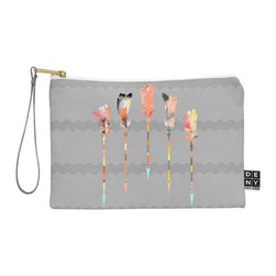 DENY Designs - DENY Designs Iveta Abolina Gray Pastel Feathers Pouch - You name it, DENY's Pouches hold it! Available in two sizes and styles, you can use our water repellent pouches for cosmetics, perfume, jewelry, pencils and even an Ipad mini! And did we mention that the small size doubles as a wristlet? With a coordinating color strap and interior lining, you can throw it into a larger bag or use it on the go as a clutch to hold your phone, credit cards and various other essentials. It's a party in a bag!