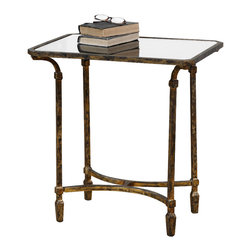 Uttermost - Uttermost Zion Metal End Table - Zion Metal End Table by Uttermost Artisan-forged Iron With Cast Iron Details In Heavily Tarnished Gold Leaf, Inset With Sleek, Black Tempered Glass Top.