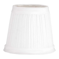 Renovators Supply - Lamp Shades White Fabric Clip on Lamp Shade 4 1/16 H - Lamp Shade: Our White Mushroom Lamp Shade is pleated & finished  top & bottom with a band of matching fabric.  Approximately 4 1/16 in. high x 3 in. top diameter, 4 1/2 in. bottom diameter. Shades clip on standard candelabra bulbs.