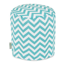 Majestic Home Goods - Teal Chevron Small Pouf - Add comfort and flare to any room with Majestic Home Goods Indoor/Outdoor Chevron small pouf ottomans. These small poufs can be used as a foot stool, side table or as extra seating in your home or backyard. The beanbag inserts are eco-friendly by using up to 50% recycled polystyrene beads.  The removable zippered slipcovers are woven from Outdoor Treated polyester with up to 1000 hours of U.V. protection. Spot clean slipcover with mild detergent and hang dry. Do not wash insert.