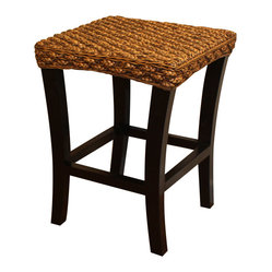 WickerParadise - Abaca Counter Stool Table - Line these wicker and wood stools up along your counter and admire the handsome warmth they bring to your room. Slightly bowed legs support its textured top, creating a mix of rustic and modern that will complement your eclectic look. Large and sturdy, it can double as an end table.