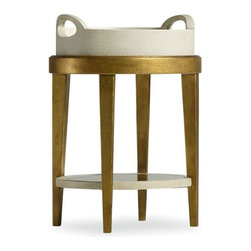 Hooker Furniture - Melange Gilded Accent Table - White glove, in-home delivery!  For this item, additional shipping fee will apply.  Removable leather covered tray with mirrored glass bottom.  Mirrored bottom shelf with gold leaf frame.