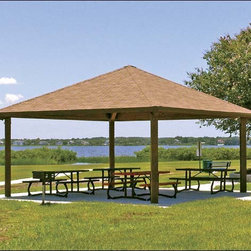 Fifthroom - 16' x 16' Laminated Wood Square Forestview Pavilion -