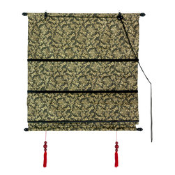 Oriental Furniture - Shang Hai Tan Blinds - Long Life Black/Gold - These beautiful imported blinds bring the elegance and grace of the Far East right into your living room. Featuring a delicate Chinese design printed in gold and a pair of scarlet tassels, these Roman style blinds are both cosmopolitan and chic. Easy to mount and adjust, these convenient blinds are adjustable to fit any window height up to six feet.