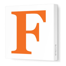 """Avalisa - Letter - Upper Case 'F' Stretched Wall Art, 12"""" x 12"""", Pumpkin - Spell it out loud. These uppercase letters on stretched canvas would look wonderful in a nursery touting your little one's name, but don't stop there; they could work most anywhere in the home you'd like to add some playful text to the walls. Mix and match colors for a truly fun feel or stick to one color for a more uniform look."""