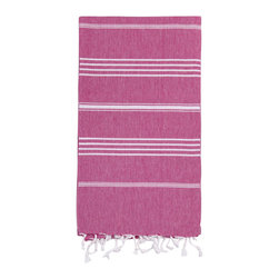 Turkish-T - Basic Bath Turkish-T, Fuchsia - Loomed in the world's finest textile region, this Turkish bath towel is both eco-friendly and lavish. Quick-drying and thin, this luxury beach towel is more lightweight, multifunctional, and long-lasting than a terry cloth towel. Complete with hand-tied fringe, the 100% cotton Basic Bath makes the perfect beach towel, bath sheet, sarong, tablecloth, scarf, and much more. Machine wash on cool. Tumble dry on low heat. Colors do not bleed or fade with wash.