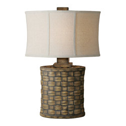 Uttermost - Uttermost Cestino Woven Table Lamp - Cestino Woven Table Lamp by Uttermost Heavily Distressed Light Pecan Finish Accented With A Gray Wash. The Oval Modified Drum Shade Is An Oatmeal Linen Fabric With Light Slubbing.