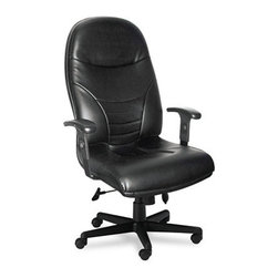 """Mayline - Mayline Comfort Series Executive High-Back Chair, Black Leather - Inflatable lumbar pump for personalized back support. Unique """"cut-out""""� tailbone area provides comfort over extended periods. Waterfall seat edge is designed to reduce pressure behind knees. Height-adjustable arms for custom comfort."""
