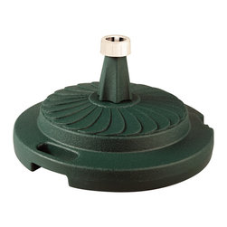 "Patio Living Concepts - Patio Living Concepts Umbrella Base Stands Commercial Umbrella Stand in Green - Commercial Umbrella Stand in Green belongs to Umbrella Base Stands Collection by Patio Living Concepts Commercial quality umbrella stand offers up to 95 lbs. of heavy holding force when filled with sand. Will accommodate umbrella poles from 1-1/2"" to 2"" diameter. Features locking screw on cap and smooth glide roller for easy moving. Umbrella Stand (1)"