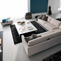 "Carmel Sofa - Carmel sofa by Calligaris. As shown in the photo 115""W x 115""L. In Cat 2. fabric. Different configurations available. Removable cushion covers for easy cleaning... Available with a matching optional headrest for higher support... Special order item, 12 week lead time..."