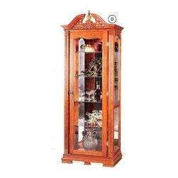 "Coaster - Solid Oak Chippendale Style Curio Cabinet With Interior Light And Glass Shelves - Solid oak Chippendale style curio cabinet with interior light and glass shelves, cabinet measures 30"" x 14 3/4"" x 81"" H .  Some assembly required."