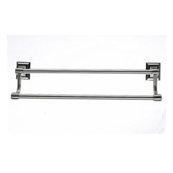 "Top Knobs - Stratton Bath 18"" Double Towel Rod - Brushed Satin Nickel - Length - 20"", Projection - 5 3/4"", Center to Center - 18"", Bar Stock Diameter - 5/8"" Base Diameter - 2"" w (x) 2 1/2""  h"