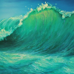 "Original Tropical Seascape Painting- The Wave - The Wave is an original 30""x40"" tropical acrylic painting on gallery wrap canvas -- ready to hang."