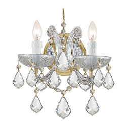 Crystorama - Crystorama Maria Theresa Wall Sconce in Polished Gold - Shown in picture: Maria Theresa Wall Mount Draped in Hand Cut Crystal; For centuries - Maria Theresa style of crystal chandeliers has been a sign of wealth - style - and class. In keeping with the time honored traditions of our European artisans - Crystorama�s Maria Theresa collection offers a variety of finishes and crystal combinations. Shown here dressed in our popular Golden Teak crystal. Also available in clear crystal (Strass - Swarovski Spectra - or Majestic Wood Polished).