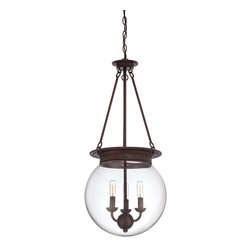 """Savoy House - Savoy House 7-3301-3-28 Glass Orb 14"""" Pendant - Salute the bygone days of incandescent illumination with these exceptional  Savoy House glass pendants. The nostalgic bulbs are on full display inside clear glass globes in 1- or 3-light styles. Available in English  Bronze ,  Polished Nickel, and Satin N"""