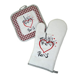 Provence Imports - Paris Bistro Cotton Oven Mitt and Pot Holder Set - Redwood - This fun oven mitt and pot holder set includes the main monuments of Paris: the Arc de Triomphe, Sacré Coeur, Notre Dame and -- of course -- the Eiffel tower! Red hearts illustrate your feelings about the City of Lights. Printed in vibrant colors on soft cotton with a heat-resistant backing, this set is ready for work.