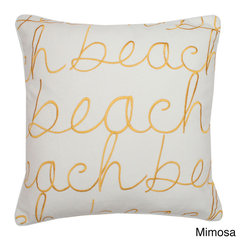 Thro - Beach 18-inch Square Embroidered Feather Fill Pillow - Bring fun in the sun style to your home decor with this seaside-inspired throw pillows. Crafted with a cotton cover and plush feather fill, this easy-clean pillow features self-welt edging and an embroidered 'beach' pattern.
