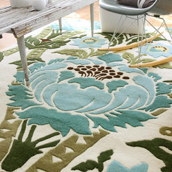 Amy Butler Hand-Tufted Wool Rug, Coventry - This hand-tufted wool rug is a beautiful way to add cool colors to a girl's room. Without having to be too pink. The disproportionately large flowers will be surprising and delightful in your baby's small and simple space.