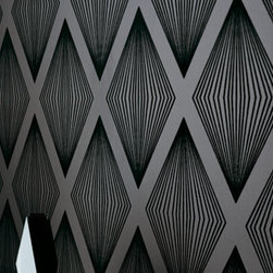 Romo - Romo Laurito Flock Ebony Wallpaper (Sample) - Wallpaper CalculatorThis Romo modern bold wallpaper  presents a striking, sophisticated geometric design. it has a smooth and flat surface.