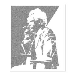 Postertext - Five Short Stories From Mark Twain Art Print - Made Entirely With Text (B & W) - Five Short Stories from Mark Twain poster is created using the entire text of the book.
