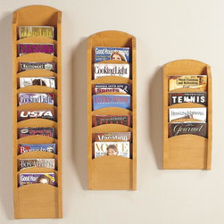Lesro - Pocket Magazine Rack Set (Cherry) - Finish: Cherry. Your waiting room or reception area will be neat and orderly when your include these magazine racks as part of your decor. Made of wood in your choice of finishes, the racks are wall mount with optional feet if you would prefer floor mount units and are sold in a set of three. Includes Four Pocket Magazine Rack, Seven Pocket Magazine Rack and Ten Pocket Magazine Rack. Solid hardwood uprights with chrome plated hooks. Furniture quality construction and 2 Leg Magazine Bases. Four Pocket Magazine Rack:. Inside Dimension: 9 in. W x 0.75 in. D x 12 in. H. Overall Dimensions: 11 in. W x 3.75 in. D x 26 in. H. Seven Pocket Magazine Rack:. Inside Dimension: 9 in. W x 0.75 in. D x 12 in. H. Overall Dimensions: 11 in. W x 3.75 in. D x 37.5 in. H. Ten Pocket Magazine Rack:. Inside Dimension: 9 in. W x 0.75 in. D x 12 in. H. Overall Dimensions: 11 in. W x 3.75 in. D x 49 in. H