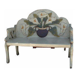 White Washed Calla Lily Hand Painted Mexican Bench - Look at this bench! Hand carved and painted. Each one is slightly different and unique. Mexico's best.