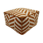JITI - Angles Orange and White Pouf - This beautiful orange and white angled pouf is made from 100% wool. It has a polystyrene bean insert. It is very lightweight and durable. Comes with a zipper on the bottom. Dry Clean only.