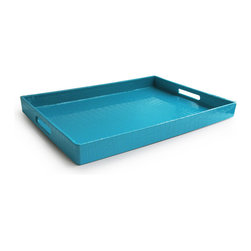 Jay Import Co. - Rectangular Tray, Teal - Add some brightness to your serveware with this fun tray, covered in a snakeskin-esque plastic, making it easy to clean. Sleek and modern, you'll look great carrying this tray out to the patio or for breakfast in bed.