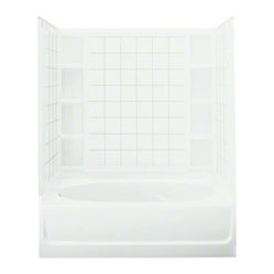 "STERLING Ensemble(TM), Series 7111, 60"" x 42"" x 72"" Tile Bath/Shower with Age in"