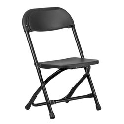 Flash Furniture - Kids Black Plastic Folding Chair - Provide kids with seating that was specifically designed for them and can be stored away when no longer in use. This plastic folding chair will make an exciting addition to any classroom, daycare center or in the home. The lightweight design makes it ideal for the child to easily transport and setup for group activities, reading and other learning groupings.