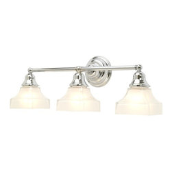 Design Classics Lighting - Three-Light Bathroom Light - 673-26/G9415 KIT - Transitional chrome 3-light bathroom light. Traditional styling and a chrome finish create a fine addition to your vanity. Takes (3) 100-watt incandescent A19 bulb(s). Bulb(s) sold separately. Dry location rated.
