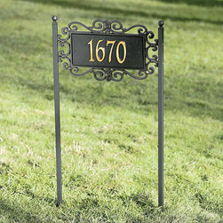 """Ballard Designs - Scrolled One Line Estate Lawn Address Sign - For One Line, Specify up to five 5 1/2"""" numbers/spaces; For Two Lines, Specify up to five 4"""" numbers/spaces for top line and up to seventeen 1 1/2"""" characters/spaces for bottom line. *Please note that personalized items are non-returnable and non-cancelable."""