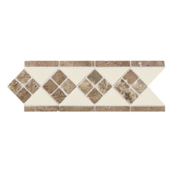 Designer Elegance Natural Stone Gloss Almond/Noce accent - Designer Elegance is a collection of listellos… special decorative tiles displaying a graphic motif created with color and/or relief. They are designed to coordinate with American Olean wall tiles. With a wide range of accent strips, rope liners, dots and chair rails, Designer Elegance makes it simple to create a room that reflects your personality.