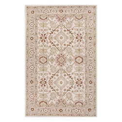 Jaipur Rugs - Jaipur Rugs Hand-Tufted Durable Wool Ivory/Red Area Rug, 3.5 x 5.5ft - The Poeme Collection takes traditional designs and re-invents them in a palette of modern, highly livable colors. Each design is made from premiere hand-spun wool and crafted with precision for the look and feel of a hand-knotted rug, at the more affordable cost of a hand-tufted. Poeme will effortlessly coordinate individual design elements to finish any room.