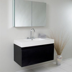 Fresca - Fresca Mezzo Black Modern Bathroom Vanity with Medicine Cabinet - This vanity is striking in its simplicity. It features a beautiful widespread chrome faucet. Don't forget to check under the hood with the innovative storage system that includes a nested drawer. It also features a medicine cabinet that can be either wall mounted or recessed into a wall. The Mezzo is a larger version of the Nano Vanity. Optional side cabinets are available. Features MDF/Veneer with Acrylic Countertop/Sink with Overflow Nested Drawer Storage System (Soft Closing Drawers) Widespread Faucet Mount P-trap, Faucet/Pop-Up Drain and Installation Hardware Included How to handle your counter Installation GuideView Spec Sheet