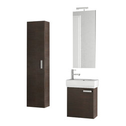 ACF - 18 Inch Wenge Bathroom Vanity Set - Set Includes: Vanity Cabinet (1 Door), high-end fitted ceramic sink, wall mounted vanity mirror, tall storage cabinet. Vanity Set Features: Vanity cabinet made of engineered wood. Cabinet features waterproof panels. Vanity cabinet in wenge finish. Vanity