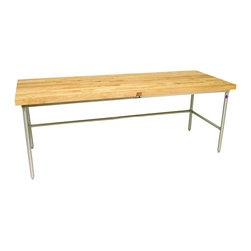 "John Boos Commercial - Boos 2-1/4"" Baker's Table - Maple Top, Galvanized Steel Frame - John Boos maple-top baker's table (BKSC) on galvanized steel frame (SBO-G). Top is 2-1/4-in. maple. Frame is 1-1/2-in. square, 16 ga. galvanized steel tubing."