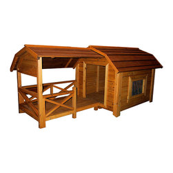 Merry Products - Cedar Dog House Barnyard - Bring a touch of country to your yard with this outdoor dog house.  The cedar-made barn yard style with a porch dog home is a beautiful addition to your yard and will last for years.  Your dog can have the luxury of indoors with window ventilation as well as a covered porch for protection.  The quality of cedar construction is featured on the Dog House Barnyard.  Designed to withstand the elements and keep your favorite friend high and dry. * This house was conceived with the outdoor pet in mind, allowing him to enjoy both the comfort of an enclosed sleeping area and the freedom of an outdoor porch.. In addition to a raised base, this porch was designed with a roof, which offers complete coverage to your pet, keeping them dry and shaded from the elements.. A window in the Cedar house allows for ventilation of the enclosed areas.. House: 38.9 x 46.8 x 34.6 . Porch: 28.7 x 39.3 x 33.0