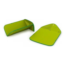 Joseph Joseph - Rinse & Chop Plus, Green - The Joseph Rinse and Chop Plus is the latest version of this hugely popular, folding chopping board, incorporating an improved, curved colander feature and a non-stick base. When folded and locked, it's unique, innovative design creates a small colander at one end enabling food to be rinsed and drained. When open and laid flat the design becomes a knife-friendly, non-slip chopping board. Once chopping is complete the board can be folded and locked again to create a convenient chute down which chopped food or waste can be poured. Its non-slip edge prevents the board from sliding if stored upright and the locking hole in the design doubles as a convenient hanging point. Dishwasher safe. By Joseph , masters of form and function.