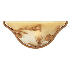 Maxim Lighting - Maxim Lighting Pine Grove Traditional Wall Sconce X-TPVA60702 - Be inspired by nature and bring a little of natures elements to your decor with the Maxim Lighting Pine Grove Traditional Wall Sconce. This wall sconce has adorable hardware made to look like Faux Pine branches combined with an Amber Vanilla Glass for a warm earthy glow. This wall sconce would be ideal for a camp or even for cabin in the woods.