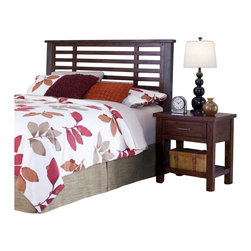 Home Styles - Home Styles Cabin Creek Headboard and Night Stand in Chestnut Finish-King-Califo - Home Styles - Bedroom Sets - 54116015 - Our Cabin Creek collection conveys a reclaimed wood vintage feel. Each piece is physically distressed by hand providing a unique one of a kind look. The Cabin Creek Headboard and Night Stand by Home Styles are constructed of mahogany solids and veneers in a multi-step chestnut finish.