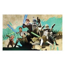 York Wallcoverings - Star Wars Clone Wars Yoda Giant Wallpaper Accent Mural - Features: