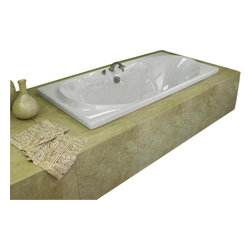 Spa World Corp - Atlantis Tubs 3672WAR Whisper 36x72x23 Inch Rectangular Air Jetted Bathtub - The interior of the whisper is sensual and curvaceous, while maintaining a rectangular outline. The center drain allows you to lie back comfortably on either end of the tub, while the smooth curves of the whisper series create a seat like effect for ultimate relaxation and comfort.
