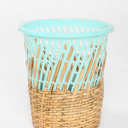 Half-Weave Contrast Top Trash Can - I can definitely say that I never thought I would ever see a half plastic laundry basket, half woven trash can combo — and I don't hate it! Definitely the perfect waste bin for someone who can't decide between modern or natural.