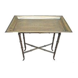 """Pre-owned Removable Brass Metal Tray Table - Asian faux bamboo style legs add a chic touch to this hammered brass-colored removable tray table. Standing at 22""""H x 23.5""""W x 13.5""""D it's the perfect size to sit next to a bed, sofa or in an entryway."""