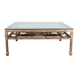 """Soleil Coffee Table Base - Soleil Coffee Table Base. Style no: CT84355. 48""""w x 48""""d x 19 1/2""""h. Material: Metal. Finish/Accents: As specified. Top Options: Glass. Custom sizing available. Designed by Shah Gilani, ASFD."""