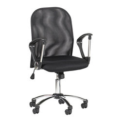 Chintaly Imports - Black Mesh Back Swivel Tilt Pneumatic Gas Lift Chair - Pneumatic gas lift adjustable height swivel computer chair. Contoured chair back is crafted of black mesh and offers plenty of back support. Padded seat is also contoured for additional comfort. 5 star caster chrome base allow the chair to move with ease. Chair also has a locking mechanism that permits or restricts rocking.