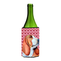 Caroline's Treasures - Basset Hound Hearts Love Valentine's Day Portrait Wine Bottle Koozie Hugger - Basset Hound Hearts Love and Valentine's Day Portrait Wine Bottle Koozie Hugger LH9152LITERK Fits 750 ml. wine or other beverage bottles. Fits 24 oz. cans or pint bottles. Great collapsible koozie for large cans of beer, Energy Drinks or large Iced Tea beverages. Great to keep track of your beverage and add a bit of flair to a gathering. Wash the hugger in your washing machine. Design will not come off.