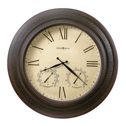 Howard Miller - Copper Harbor Wall Clock in Brushed Antique C - Wall clock. Brushed, antique copper finish with embossed decor. Designed for indoor or outdoor use. Offers a thermometer and a hygrometer. Indicates temperature and relative humidity. Quartz, battery operated movement. 28 in. Diameter x 4 1/4 in. D